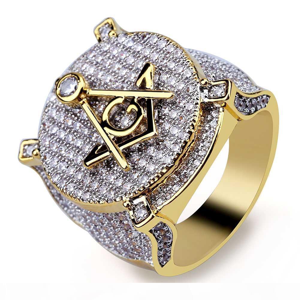 Retro AG Masonic Ring Zircon-Intarsien Persönlichkeit Hip-Hop-Mann-Ring-Ring heißen Verkauf in Europa und Amerika