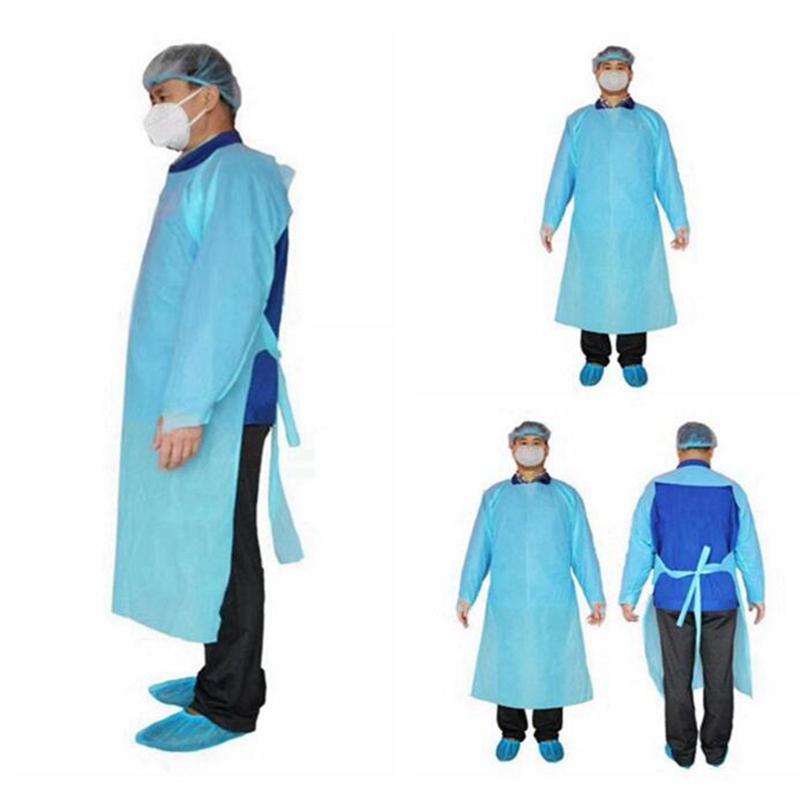 CPE Защитная одежда Одноразовая Изоляция мантий Одежда Костюмы против пыли Открытый Защитная одежда одноразовая Плащи YYA314 300pcs