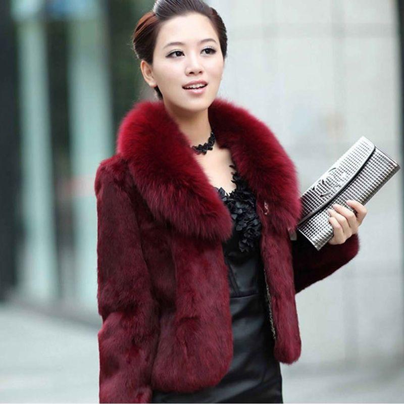 High Quality Winter Warm Fluffy Faux Fur Coats Jackets Women Furry Short Faux Fur Collar Jacket Plus Size Overcoat LU1238