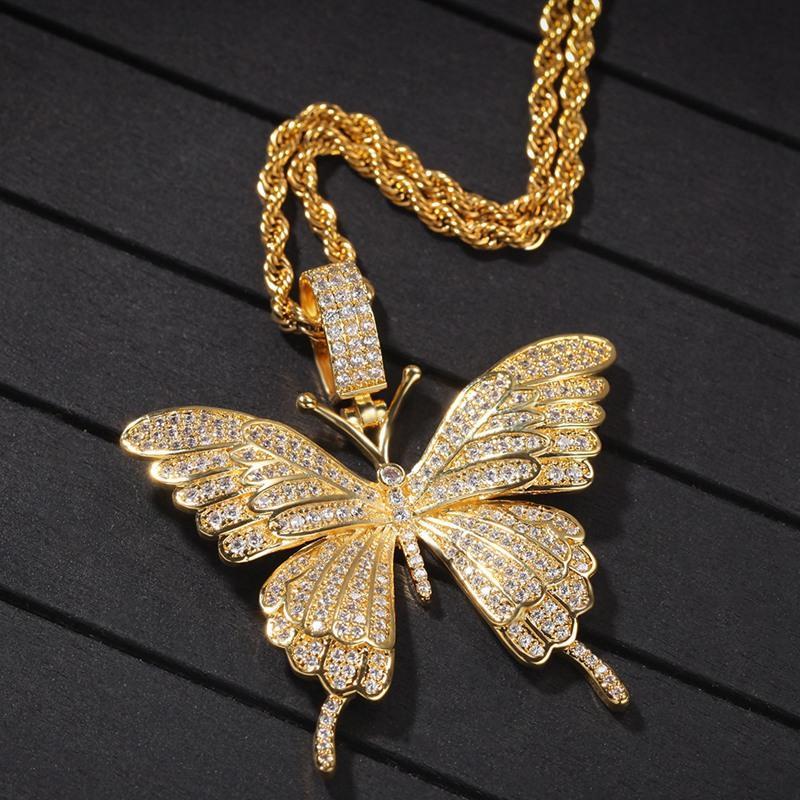 Gioielli Hop della collana di modo delle donne Mens oro collana ghiacciato fuori d'argento del pendente a farfalla Hip