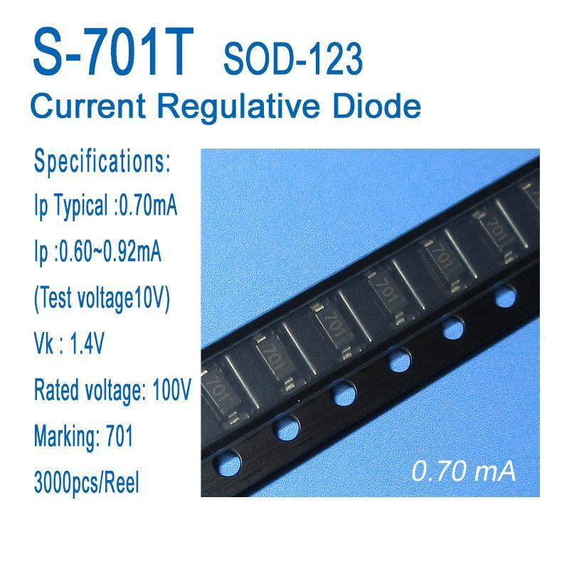 Постоянный ток диода, ток диода регулятивная, CRD, S-701T, СОД-123, СМД, типичным 0.70ma, применяется для датчиков, приборов