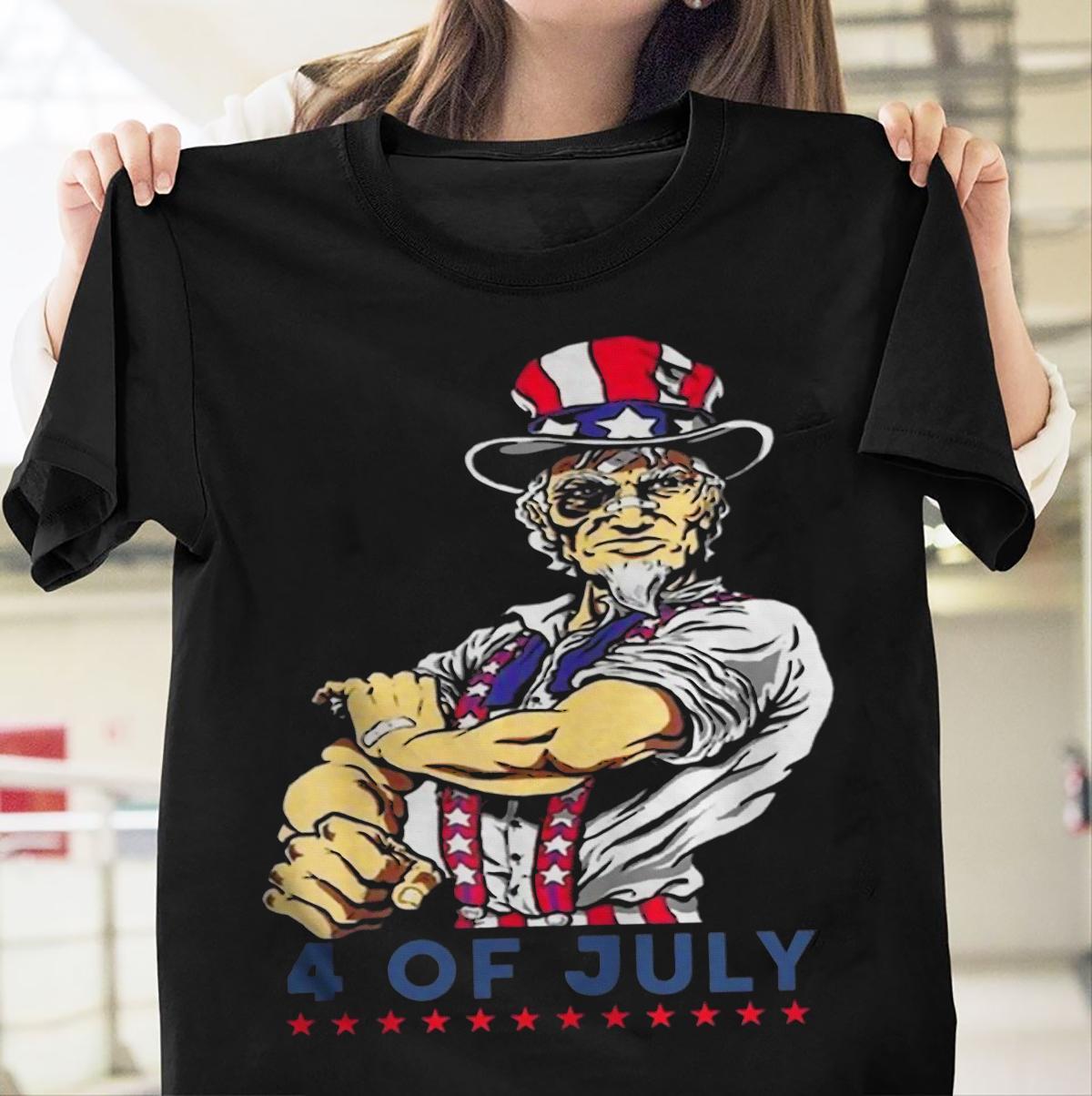 Дядя Сэм 4 июля Америка Флаг День независимости футболку подарков Happy Holiday Мужчины Женщины Мужская мода тенниску Бесплатная доставка