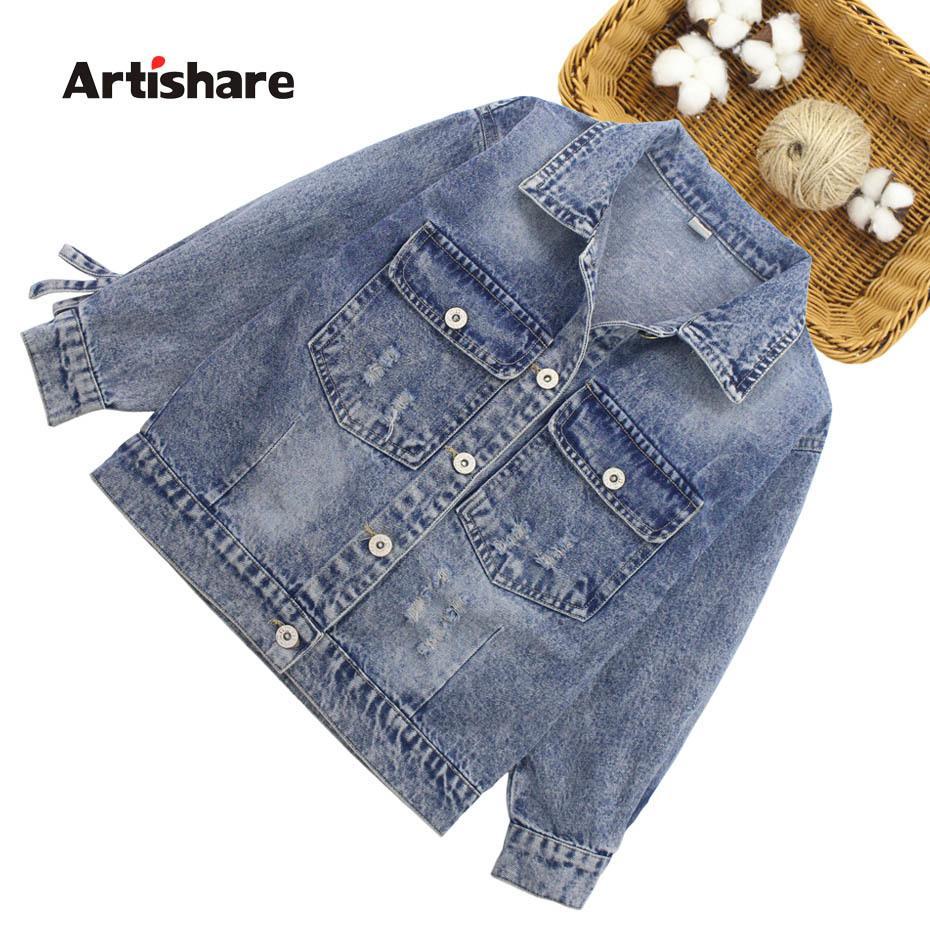 Kız Çiçek AYDINLATMA Dış Giyim İçin Çocuk İlkbahar Sonbahar Giysiler için kızlar 6 8 10 12 14 CX200727 için Çocuk Ceket Moda Denim Ceket