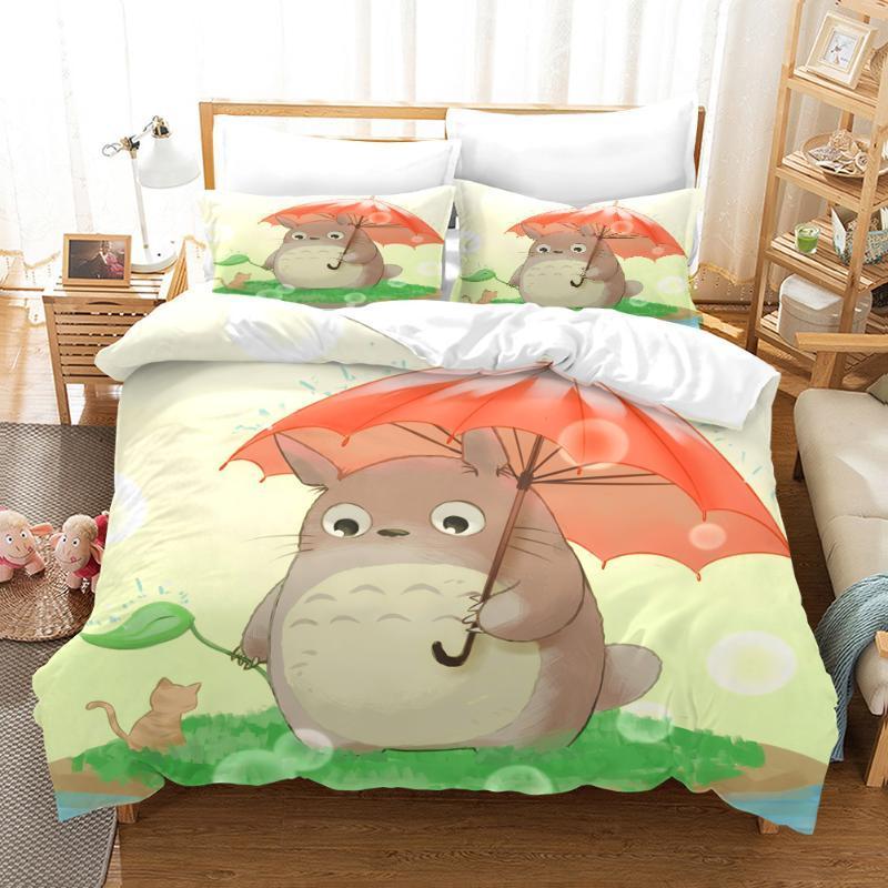 NEW Cartoon Totoro 3D Print Bedding Set Duvet Covers Pillowcases Anime Comforter Bedclothes Cartoon Bed Linen 02