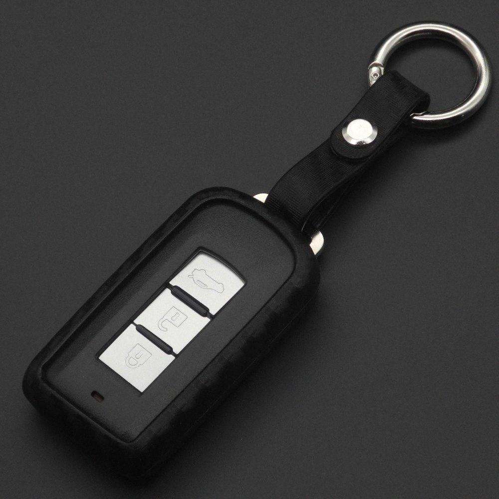 10pcs für Mitsubishi Outlander Lancer 10 Pajero Sport EX ASX Colt Grandis L200 Smart-2 / 3Buttons Carbon-Sil Car Key Case tiId #
