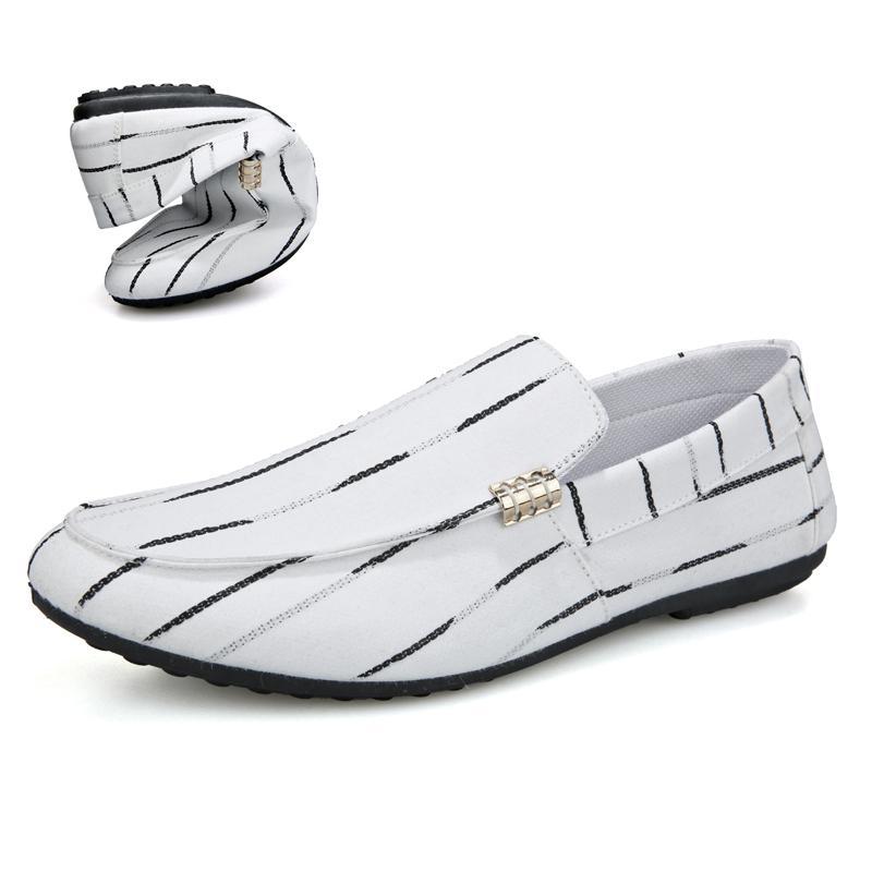 zapatos de cuero ocasionales de los hombres de lujo blandos zapatos antideslizantes ocasionales respirables guisantes conducción de vestir de negocios