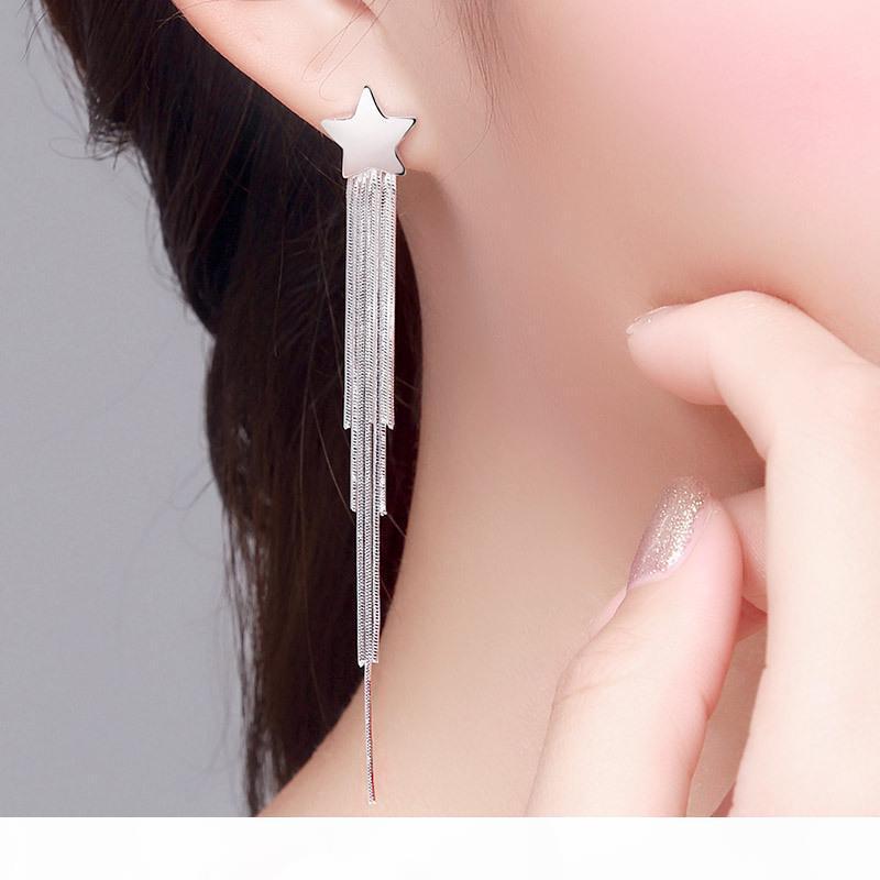 S925 boucles d'oreilles en argent sterling longues oreilles pompon modèles féminins étoiles 2020 nouvelle mode super jewerly cents remarquable face-lift argent pur