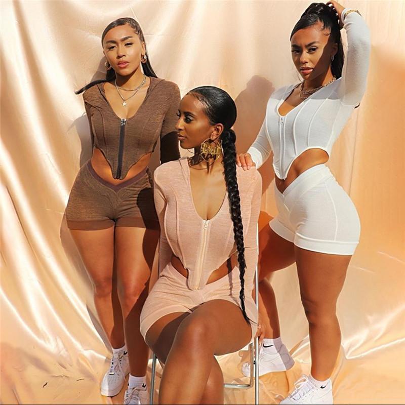 NCLAGEN Çizgili Patchwork Kadınlar Seti Spor Casual Streetwear Sportif Mujer İki Adet Set Eşleştirme Yukarı Kapşonlu En Biker Şort Zip