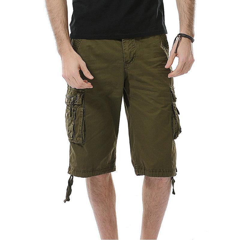 Pantalones cortos Multi-bolsillo 2020 de moda de verano de carga pantalones cortos para hombres de algodón de los hombres ocasionales sólidas del hombre Bermudas
