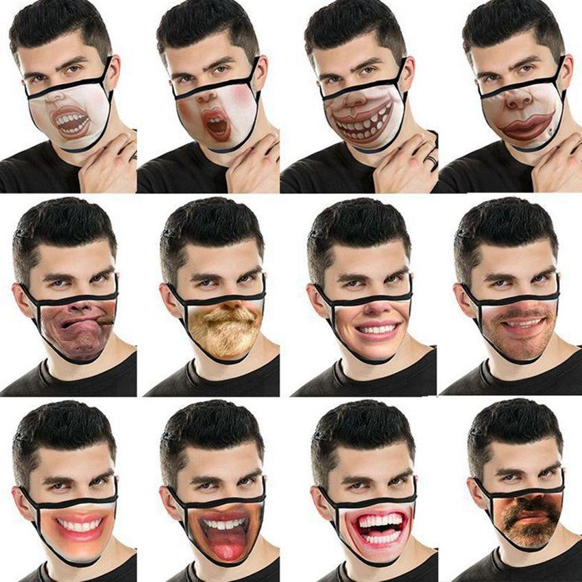 Funny Face Mask Face мужской рот маска многоразового моды Рот маска Смешные 3D печати Смешные выражения лица Обложка маски LJJK2430