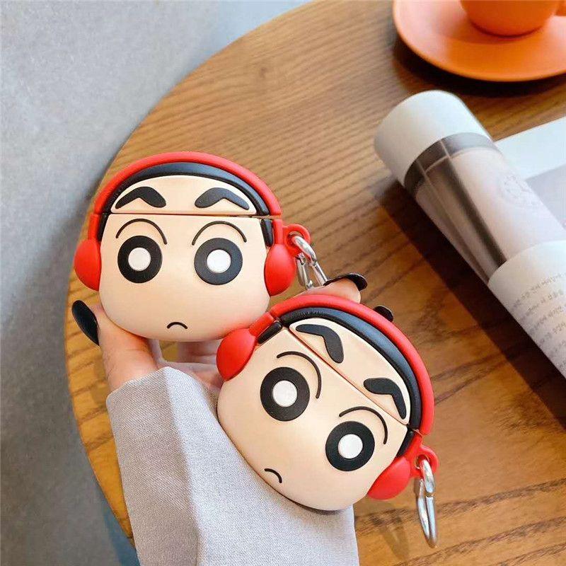 Música linda 3D Crayon Shin Chan Silicone Funda para Airpods 1 2 Funda de auricular Bluetooth Cubierta protectora de dibujos animados Lujo para niñas