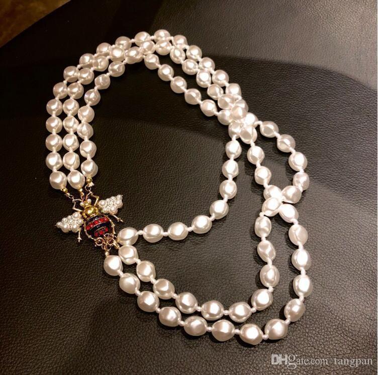 2019 nouveau collier d'abeille perle en forme de lumière tempérament rétro coréenne sauvages femelles de mode à trois couches marée de la chaîne collier de perles