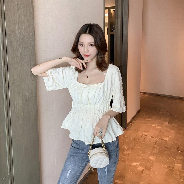 nuovo stile coreano Fw1Ao estate a maniche corte a pieghe camicia della parte superiore vestiti superiori studentessa stile occidentale vita-chiuso toccare il fondo quadrato camicia