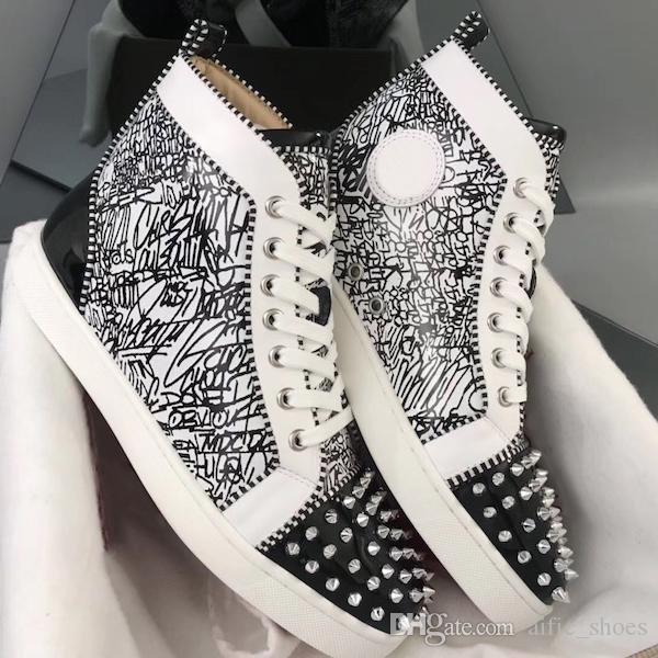 Sapatos 2019 Luxo Orlato Sneakers Red inferior Júnior Spikes Trainers Homens alta flat-top sapatos de dança festa da moda com a caixa US12.5