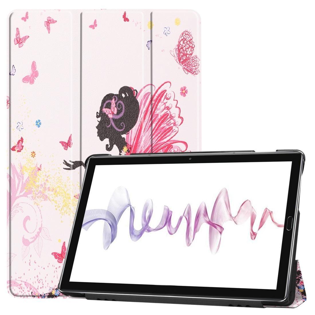 Patrón de piel de vaca Textura Elf Girl dibujo coloreadas horizontal del tirón del cuero del caso para Huawei MediaPad M6, con el titular