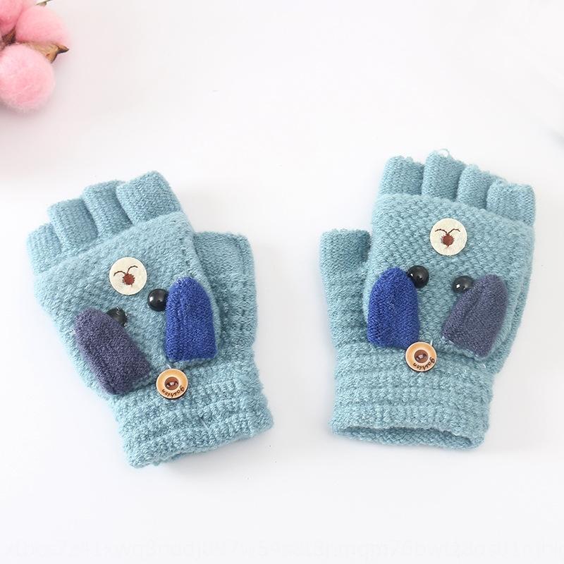 luvas metade do dedo aleta outono e inverno estudante quente quente e luvas de malha para crianças