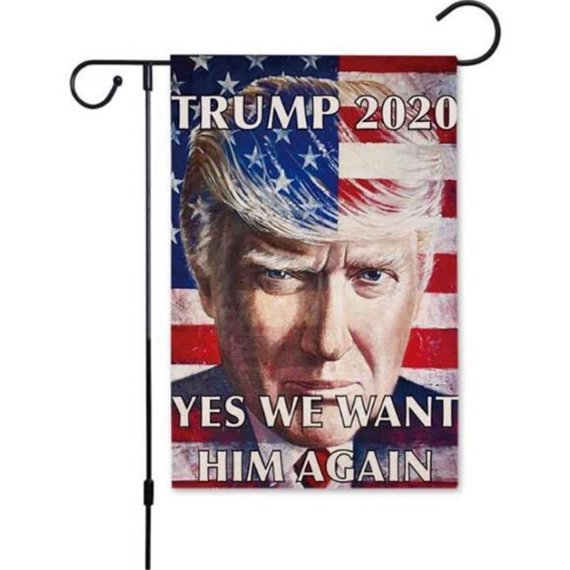 venta caliente 30 * 45cm Trump 2020 Bandera impresa a doble cara de Donald Trump Bandera Keep America Gran Donald para el presidente EE.UU. DHA527