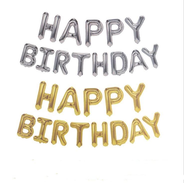 تاريخ الميلاد 16 بوصة خطابات HAPPY BIRTHDAY احباط بالونات عيد ميلاد سعيد الطرف الديكور بالونات الطفل لوازم الاستحمام ولوازم منزلية DWE201