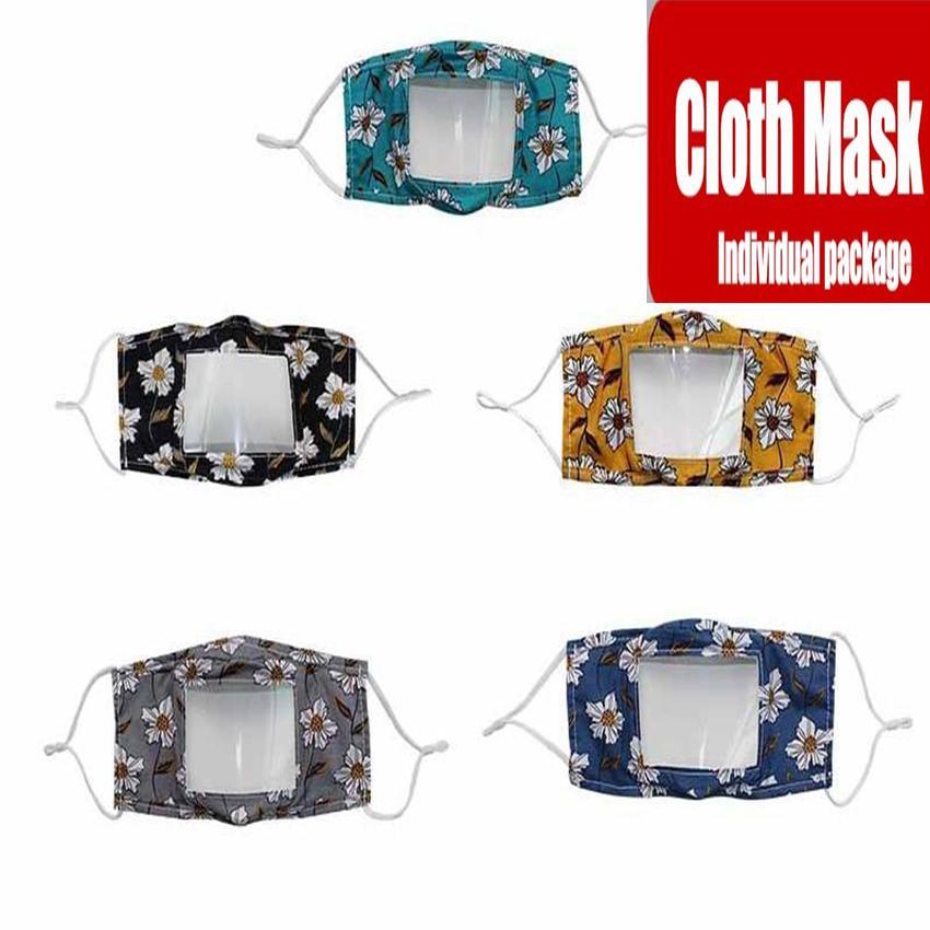 Мода Цветочной глухонемой маска Clear Window Роты пыл Маска для глухого Lip Reading Mouth маски Моющейся Регулируемой петли уха