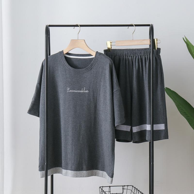 fD88r Erkekler yaz pamuk kısa kollu iki parçalı gündelik basit yaz ince takım elbise dışarı pijama pijama elbise siyah eve gidebilir