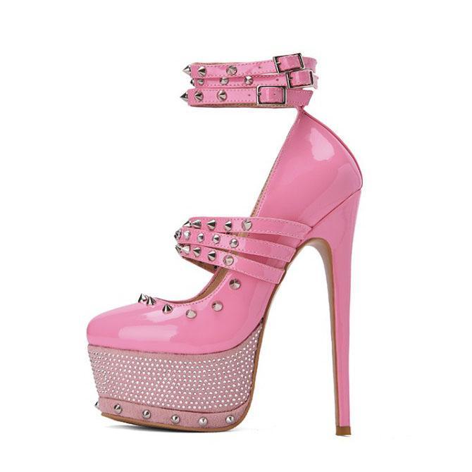 Handmade Women Platform Pumps Sexy Rivets Stiletto High Heels Pumps Round Toe Pink Party Shoes Women Plus US Size 5-15