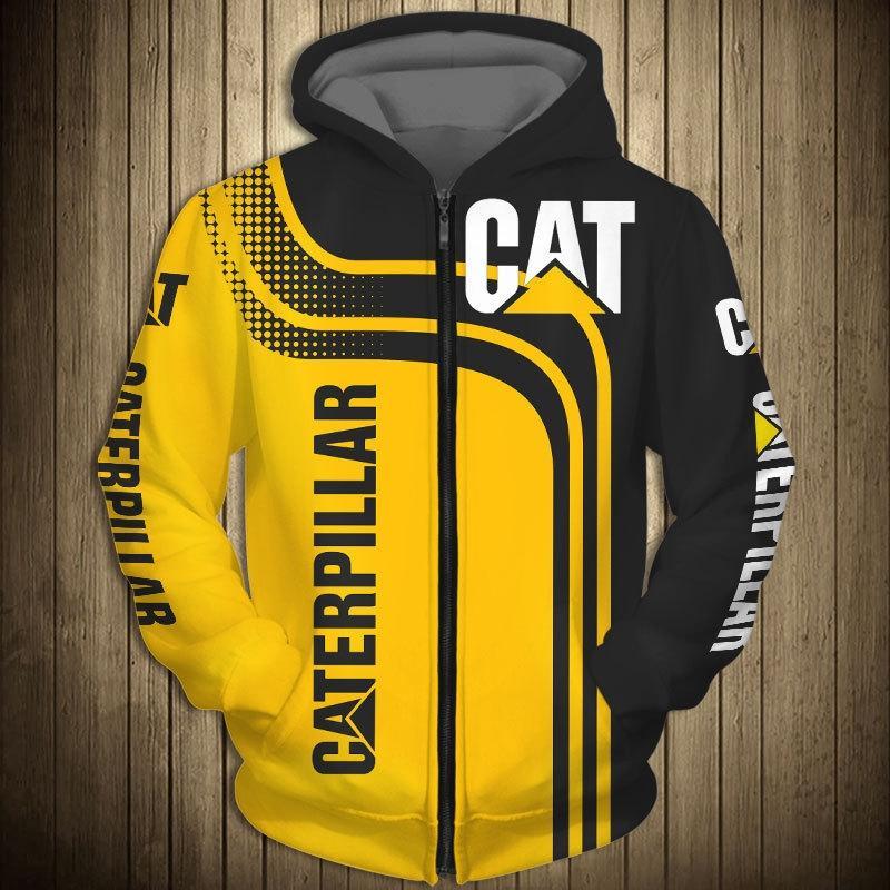 2020 T-shirt complet du corps col rond impression chemise pour hommes Caterpillar taille zipper européenne 3D Xinyi
