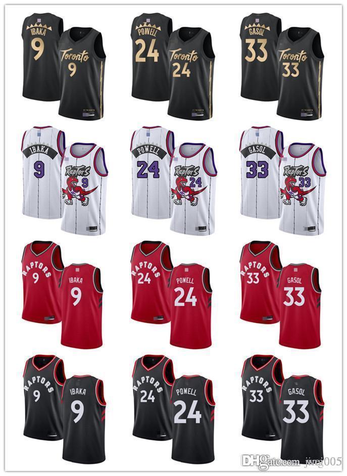 Para mujer para hombre de la JuventudTorontorapaces9 SergeIbaka 33 MarcGasol24normandoPowell encargo jerseys del baloncesto