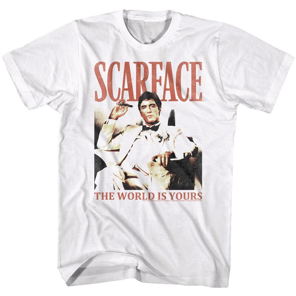 Scarface Tony Montana World Is Yours Mens T Shirt Bianco Nero Pacino Mafia Film