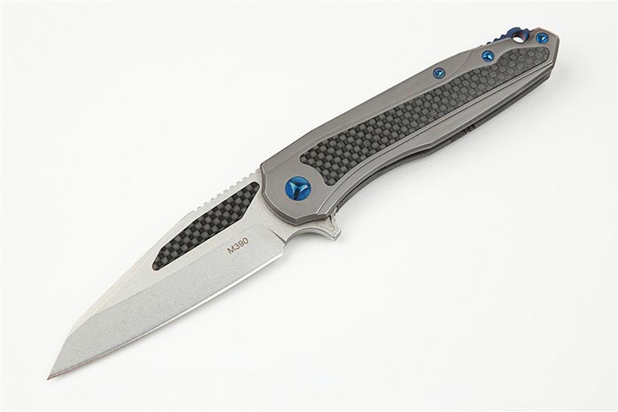 Trasporto veloce del cuscinetto a sfere Flipper coltello pieghevole M390 Stone Wash lama TC4 lega di titanio in fibra di carbonio + maniglia EDC Coltelli