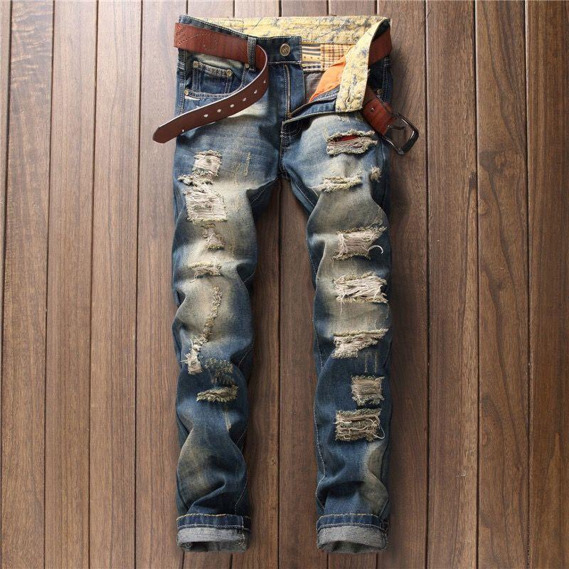 Elástica 2020 nuevo de la manera flaca azul del color de los pantalones vaqueros rasgados hombres causales para hombre Jeans Homme