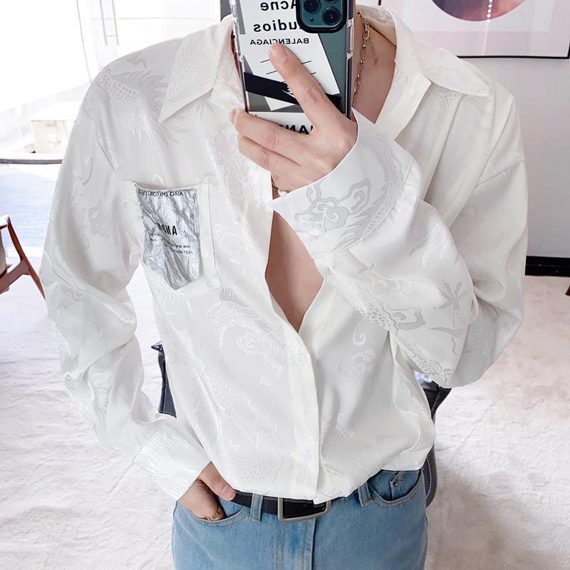 EWQ / HAKA Sommer Persönlichkeit chinesische Drachen Jacquard-Shirt 2020 neue lose beiläufige lange Hülse Art und Weise Satinhemd 9Y2333