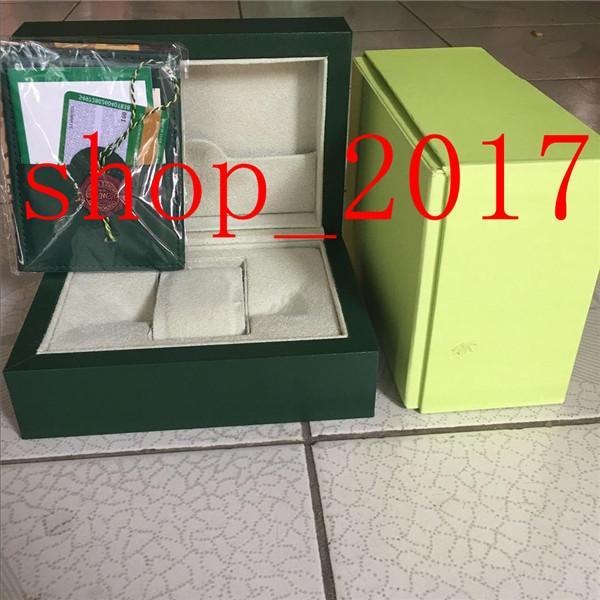 YY Nouveau style original Green Watch Coffret Papiers cadeaux Montres Boîtes sac en cuir carte pour Rolex Box 2020 Coffret