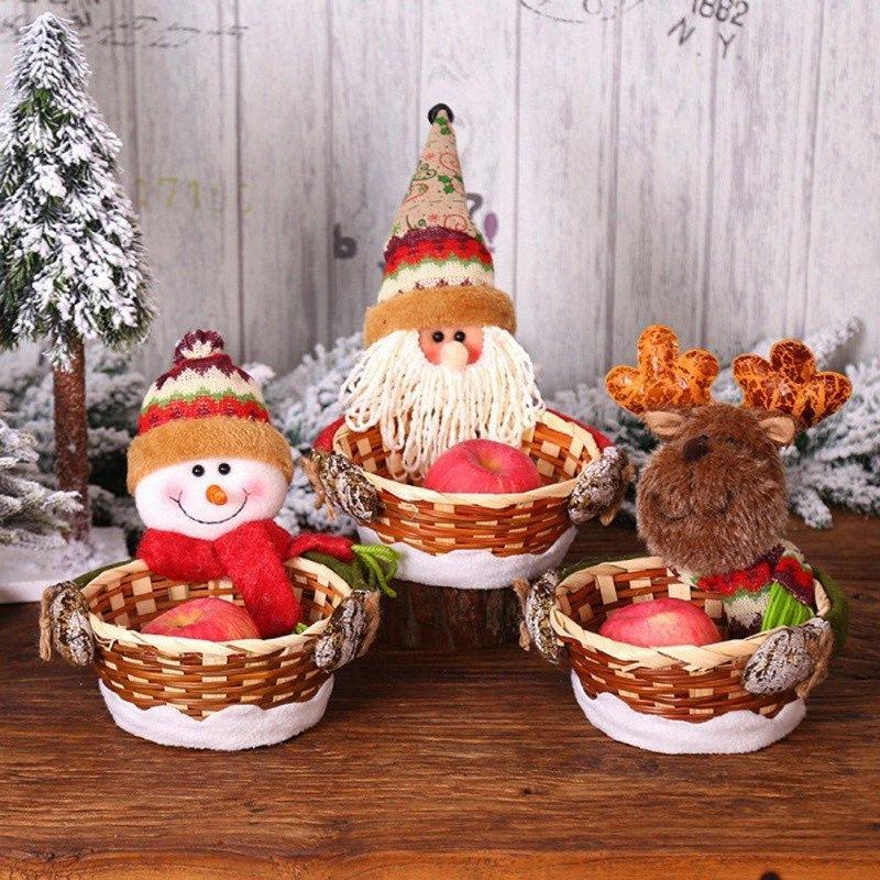 Portable lindo del caramelo de la cesta de Navidad Parte festiva de Navidad decorativo delicado paño hecho punto de caramelo cesta de la manzana fuentes de los apoyos fspu #