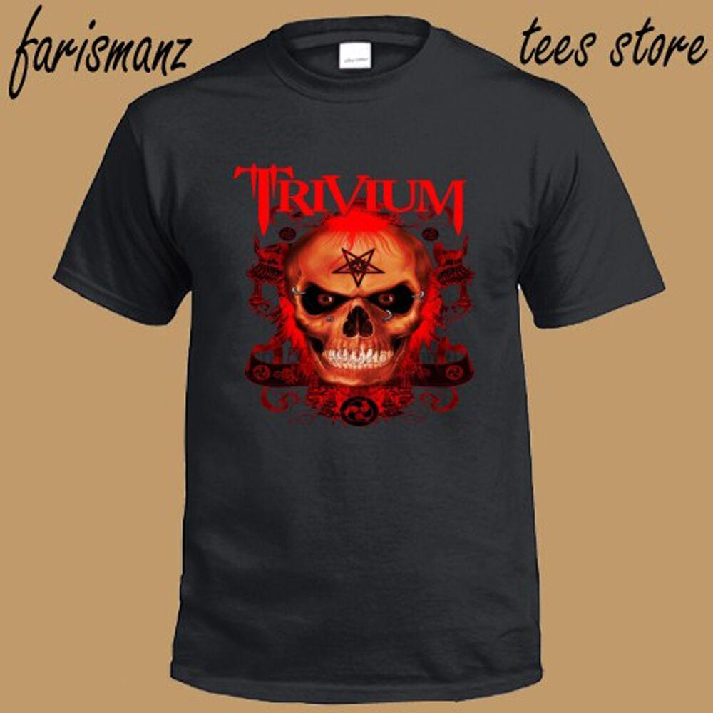 New Trivium Metal Band Skull Logo Men Black T-Shirt Size S to 3XL