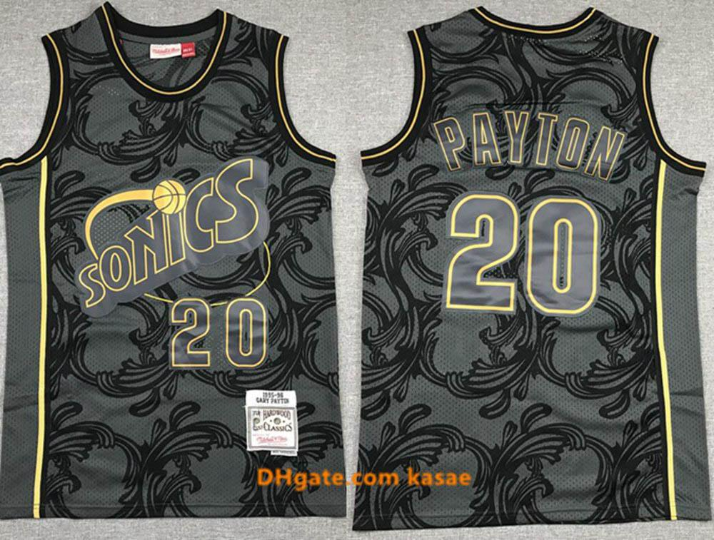 RückschlagSeattleSupersonics Payton Jersey Mitchell Ness 1995-96 20 Gary Payton Schwarz Retro Hardweinlese-Basketball-Trikots