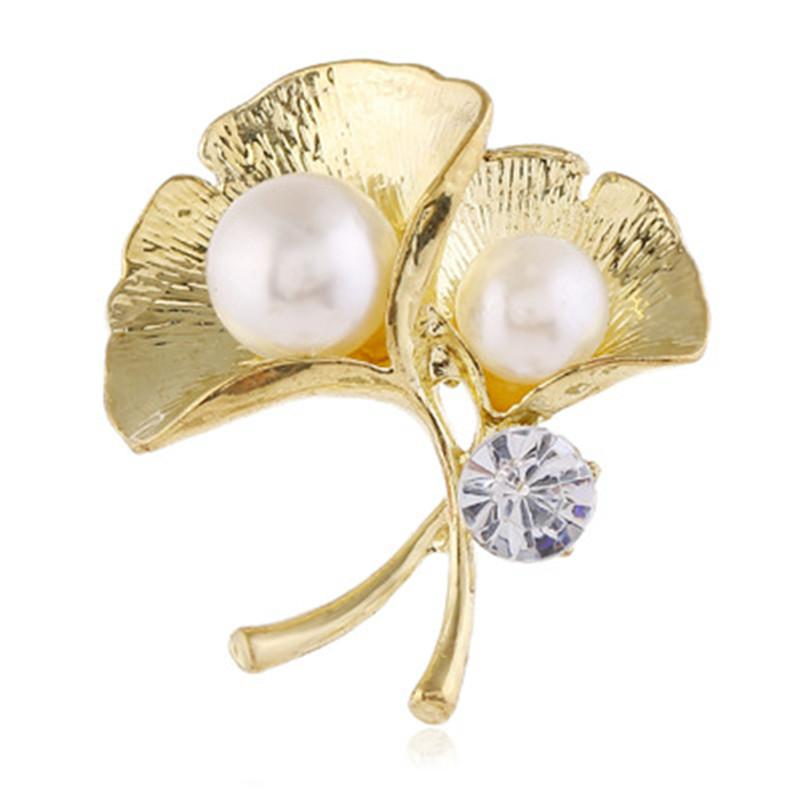 Ginkgo Biloba Leaf Flower Brooches Pins with Simulated Pearl Green Blue Leaves Lapel Pin Eco friendly Plant Jewelry For Women