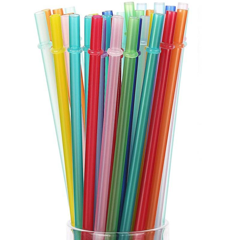 قابلة لإعادة الاستخدام PP البلاستيك الشرب القش 9.45 بوصة BPA الحرة وصديق للبيئة الألوان الملونة الأمازون وحزم الدعم المخصصة