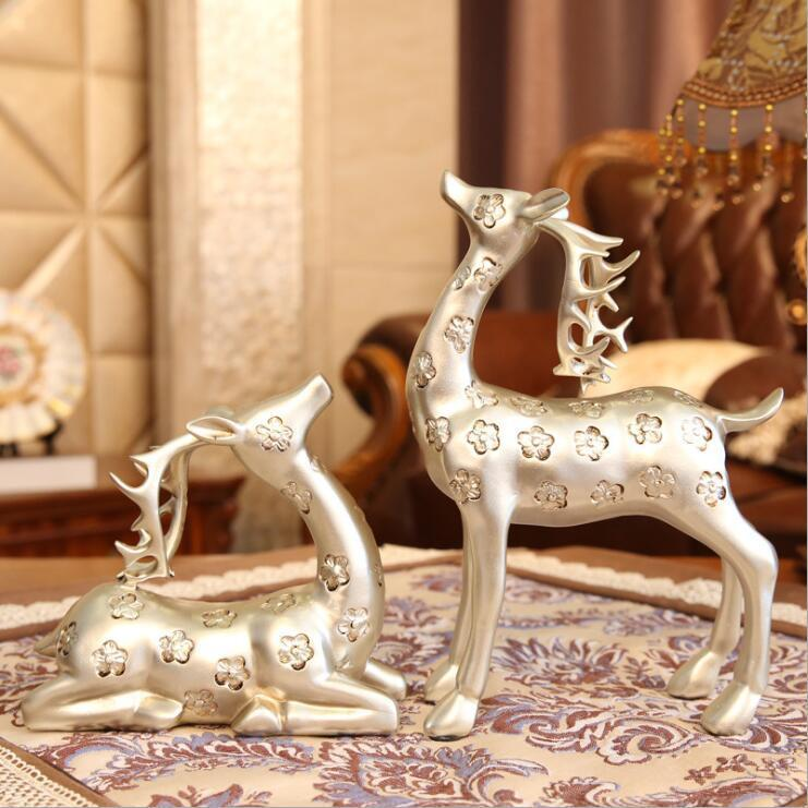 Resin statue Christmas promotional home decor deer couples polyresin deer statue animal figure resin ornaments/crafts