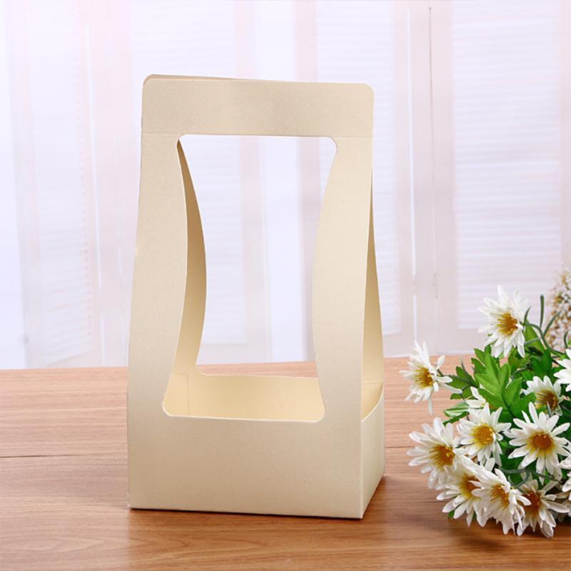 5pcs / lot Pliable Boîte à fleurs papier imperméable Sac d'emballage Fleuriste Porte-bouquet à la main panier du jour de la Saint-Valentin cadeau de mariage