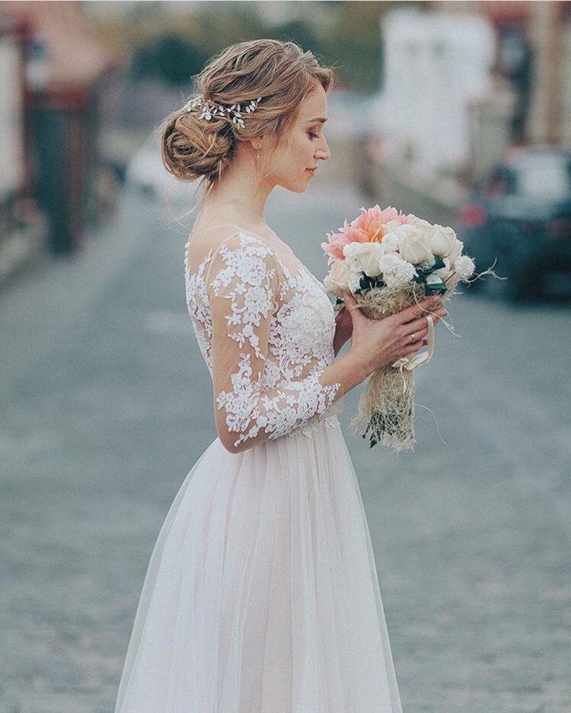 Applique dentelle Robe de mariée avec Tulle Jupe 2021 à manches longues Robes de mariée de Bohème Blanc d'Ivoire