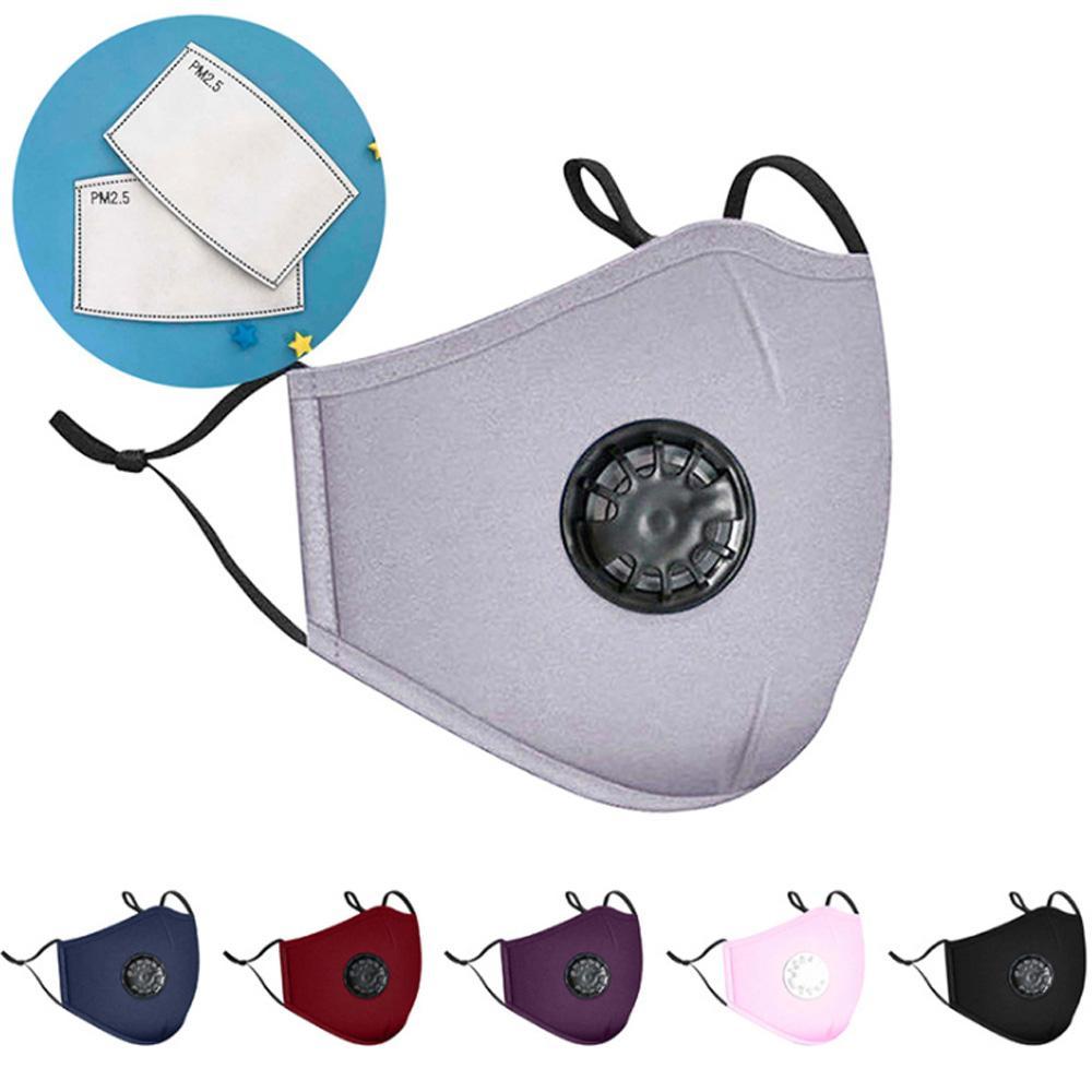 Лицевые маски с фильтром Одноразовая PM 2.5 Активированный уголь 5 слоев РМ2,5 маска для лица с 2pcs фильтровальная бумага Защитная маска оптового фильтра