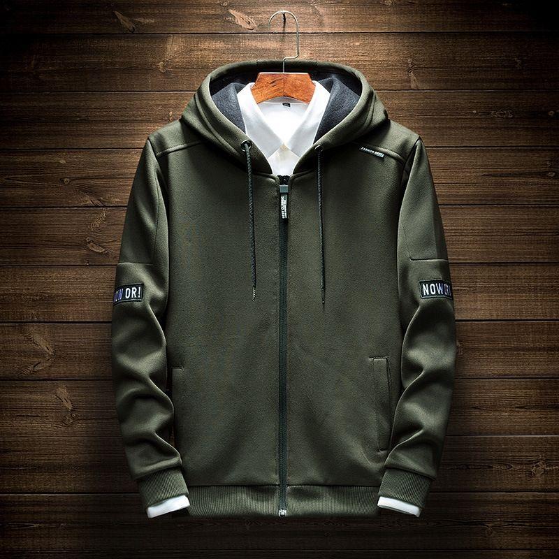 estilo encapuchado calle de los hombres suéter de la capa de moda de primavera de algodón long Escudo juventud manga de los hombres suéter W2nQO
