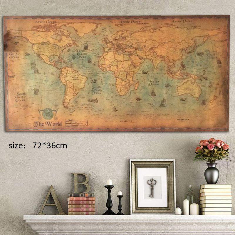 Large Vintage Office Supplies Detailed Antique Poster Wall Chart Retro Paper Matte Kraft Paper Map Of World