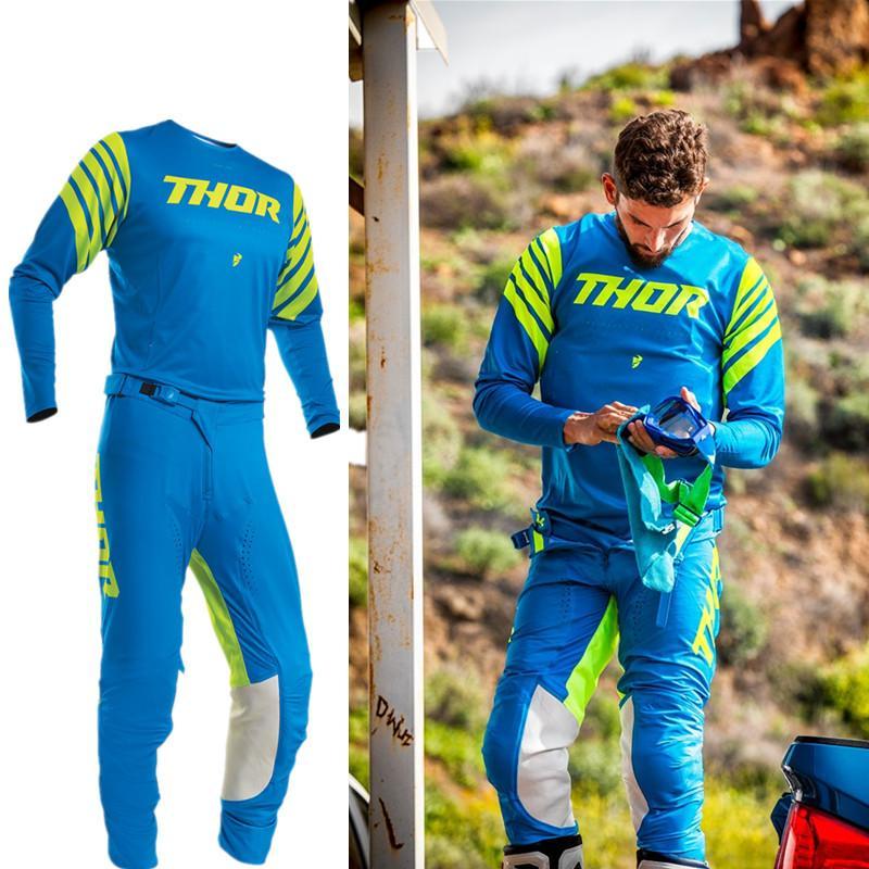 2020 Jersey bleu Motocross et pantalon avec compression intérieure courte VTT BMX Motocross Jersey Set VTT Costume Set équipement moto