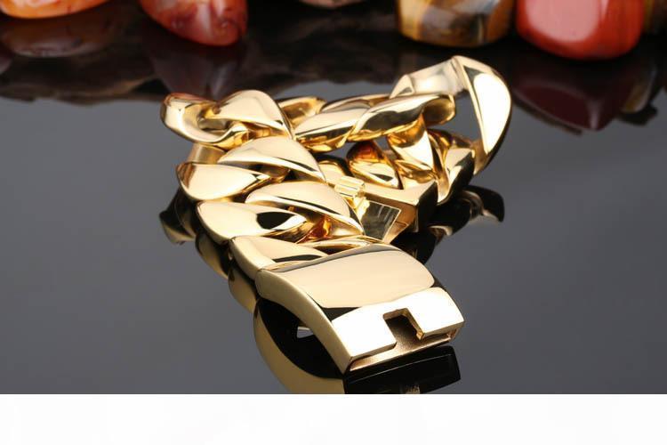Modo punk 31 millimetri Super Heavy Biker tono oro catena cubana Curb rotonda monili del Mens del braccialetto del braccialetto dei ragazzi 316L Bracciale in acciaio inossidabile