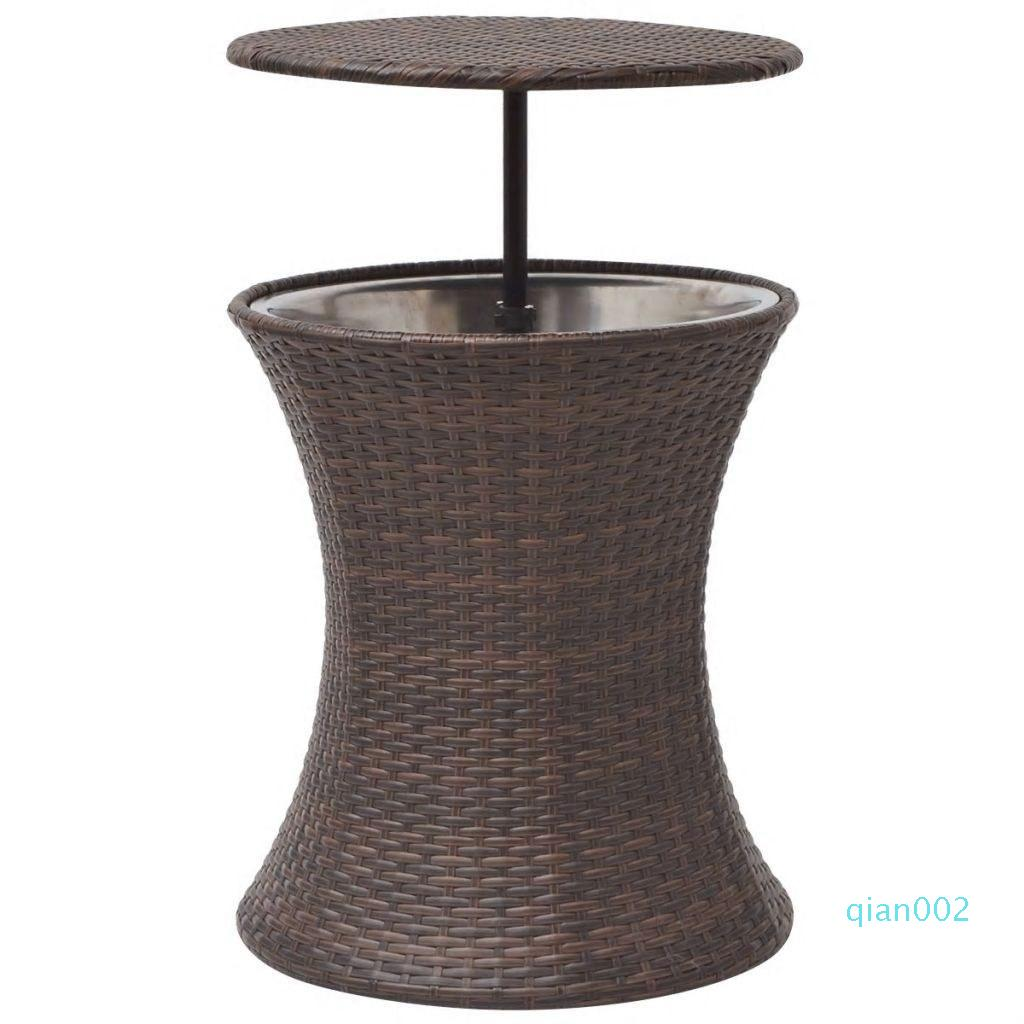 Ice Cooler Bucket Table Poly Rattan Brown Dining Room Furniture