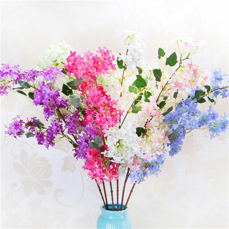 Encryption cruz flor de cerejeira de simulação de casamento casa decoração suave flor decorativa falso lilás Festive Party Supplies Freeshipping