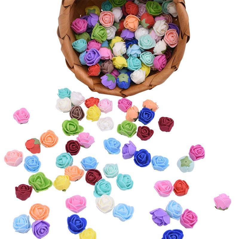 50/100 / 200pcs 2cm Mini Köpük Gül Başkanı Yapay Köpük Gül Çiçek DIY Düğün Olay Parti Dekoru Ev Bahçe Dekoratif Malzemeleri