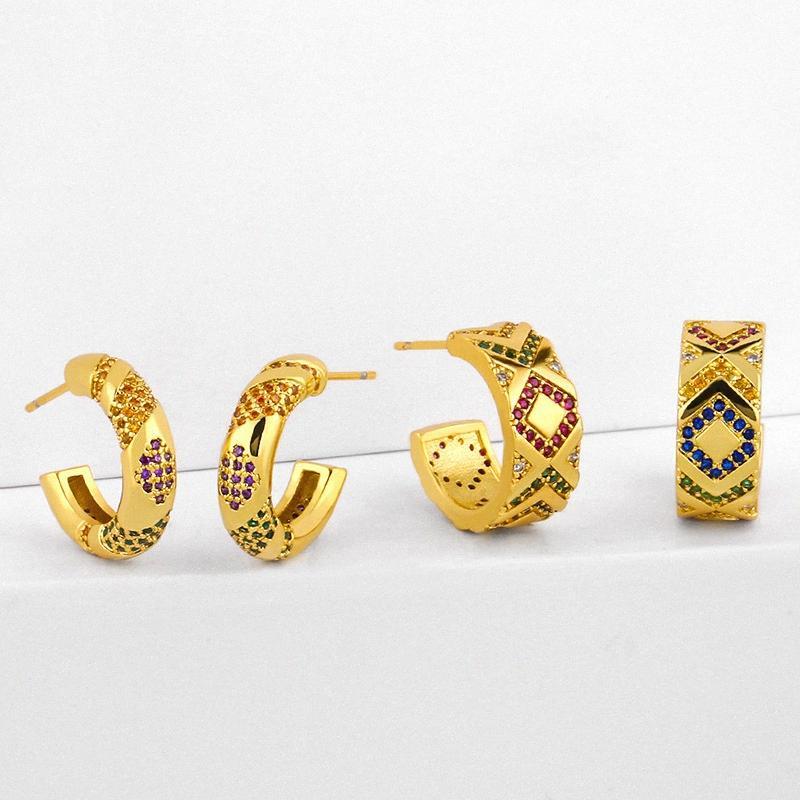 ZHONGVI Micro Pave arco iris pendientes para las mujeres Pendientes Gold Filled Huggie del círculo de circonio cúbico CZ Mujeres del arco iris joyería m9tI #