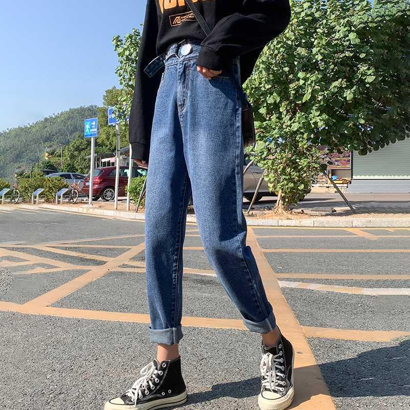 2020 primavera nueva vendimia de la alta cintura holgados Mom Jeans de mujeres novio dril de algodón pantalones harén casual otoño Pantalones rasgados B01609F